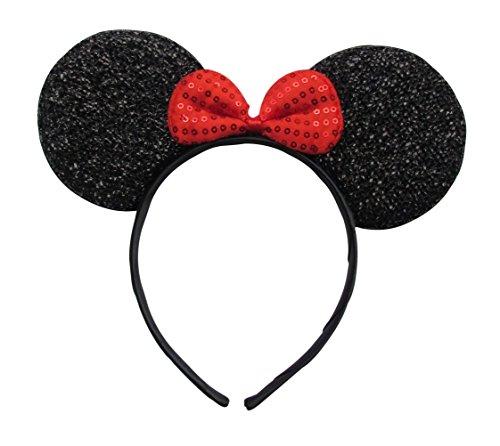 Womens Filles mignon doux Déguisement Paillette Mouse oreilles Serre-tête/bandeau – noir/rouge