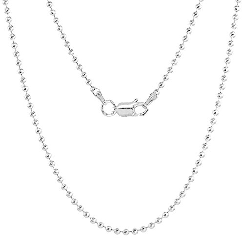 Sterling Silver 1.8mm Pallini Bead Ball Chain Necklace Nickel Free Italy 20 inch
