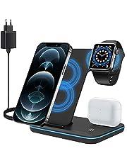 ZHIKE Bezprzewodowa ładowarka, 3 w 1 Qi stacja szybkiego ładowania z adapterem QC3.0 do Apple iWatch serii 5/4/3/2/1, AirPods, kompatybilna z iPhone serii 1/XS MAX/XR/XS/X/8/8 Plus/Samsung