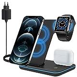 ZHIKE Caricatore Wireless, Stazione di Ricarica Rapida Qi 15W 3 in 1 con Adattatore QC3.0 per Apple iWatch 6/5/4/3/2/1, AirPods, Compatibile con iPhone 12/11/ XS Max/XR/X/Samsung S21/S10 Plus