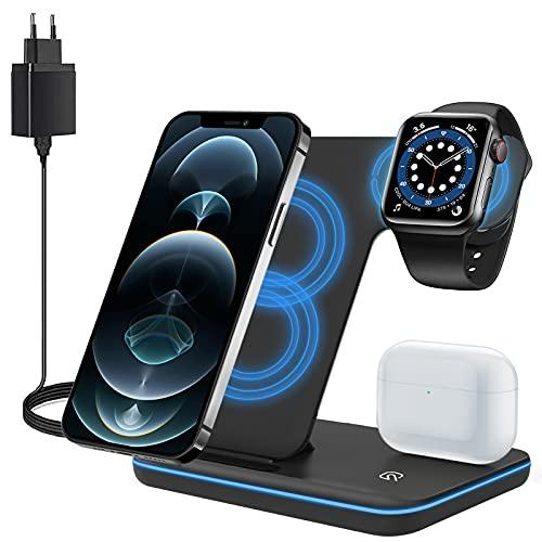 ZHIKE Cargador Inalámbrico, Estación de Carga Rápida Qi 15W 3 en 1 con Adaptador QC3.0 para Apple iWatch 5/4/3/2/1, AirPods, Compatible con iPhone 11 Series/XS MAX/XR/XS/X / 8/8 Plus/Samsung
