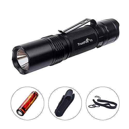 TrustFire T3 LED Taschenlampe 1000 Lumen hell mit CREE XPL-HI-V3-LED 5 Modi taktisch für EDC, Camping, Wandern, Hundespaziergang und andere Outdoor-Aktivitäten (1 x 18650 Akku 3000mAh enthalten)