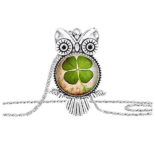 Trébol de cuatro hojas de la suerte de la hoja del trébol del búho collar de la buena suerte joyería