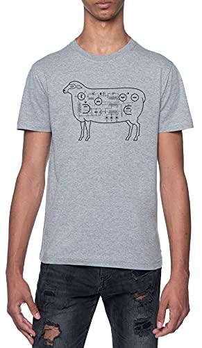 Eléctrico Oveja Camiseta Gris para Hombre De Manga Corta con Cuello Redondo Grey T-Shirt Mens XXL