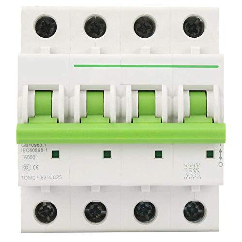 ZGQA-GQA Interruptor 4P 6KA en miniatura, interruptores de tipo C Interruptor de fuga de fuga de aire Protección Switc, con protección de sobrecarga y del cortocircuito (25A)