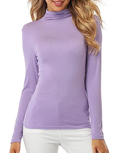 Fuinloth Women's Mock Turtle Neck Tops, Long Sleeve Slim Fit Spandex Shirts, Basic Plain Layer Underscrub Tees Lavender X-Large