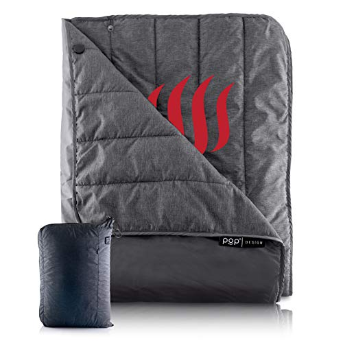 Pop Design, Portable USB Heated Throw Blanket, 3 Heat Settings, Perfect for Outdoor Events, Car and Airplane Travel, Grey (Battery Pack Not Included