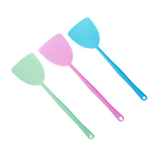 OUNONA 3pcs Plastikfliegen-Klatsch-manuelle Swat-Moskito-Sch?dlingsbek?mpfung mit langem Griff (gr¨¹NES Rosa-Blau)