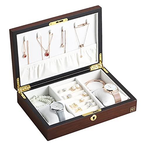 Caja de joyería grande Coffin Mujer Hombre Regalo Collar de Madera Anillos Pendientes Reloj Organizador de Joyería Mostrar Caja de Almacenamiento - Madera Rojo Oscuro