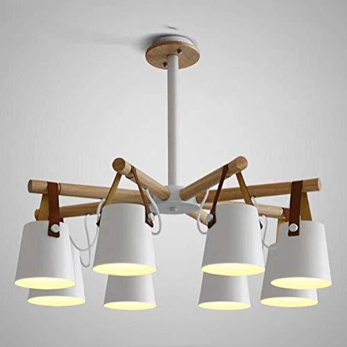 GLXLSBZ Lámpara de araña nórdica con luz Colgante de Cuero marrón y Madera, luz de Techo, 8 Luces, luz Colgante de Dormitorio Industrial Blanca para (iluminación del hogar)