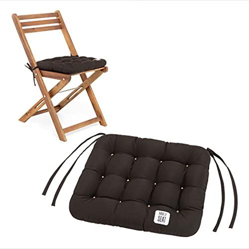 HAVE A SEAT Luxury - Sitzpolster 40 x 35 cm (2 St.) - Bequeme Sitzkissen für Klappstühle, Balkonstühle, Balkon-Set - waschbar bis 95° C, UV-Schutz - Made in Germany (2er Set - 40x35 cm, Braun)