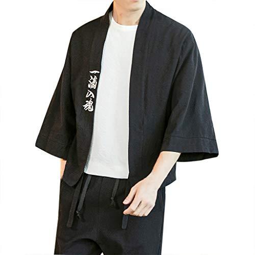 FRAUIT Kimono Uomo Cardigan Cappotto Maniche a 3/4 Cappotto Kimono Giapponese Vintage Cloak Coat Man