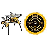 DEWALT DWE7491RS 10-Inch Jobsite Table Saw with 32-1/2-Inch Rip Capacity and Rolling Stand with DEWALT DW3219PT 10-Inch 80T Fine Crosscutting Saw Blade