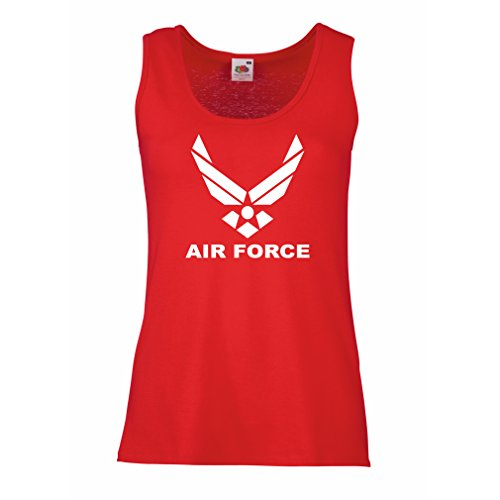 Camisetas sin Mangas para Mujer United States Air Force (USAF) - U. S. Army, USA Armed Forces (Large Rojo Blanco)