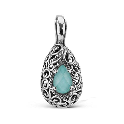 Carolyn Pollack Sterling Silver Turquoise Gemstone Doublet Pendant Enhancer