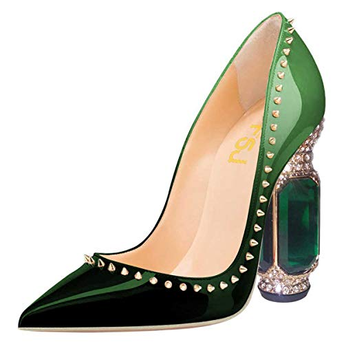 FSJ Women Bridal Pointed Toe Chunky High Heel Crystal Pumps Slip on Wedding Thick Comfort Shoes Size 11 Green Gradient