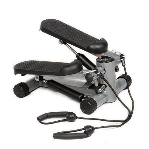 Gymax Fitness Twister Stepper w/Resistance Bands, Cardio Air Climber Stepper Stair Step Machine (Black)