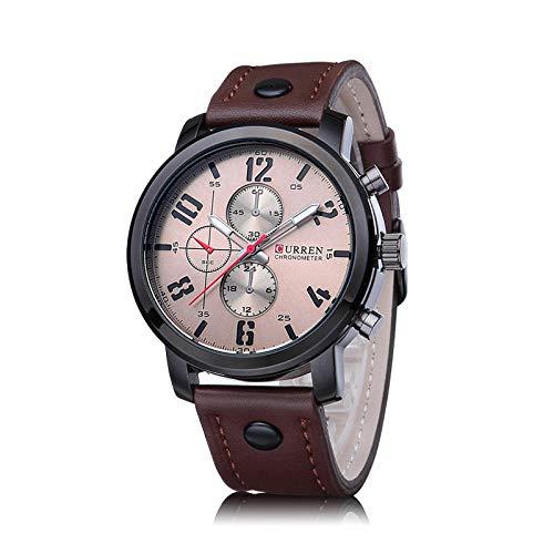 Relojes para Hombre Acero Inoxidable Correa de Cuero Impermeable Cuarzo con -C