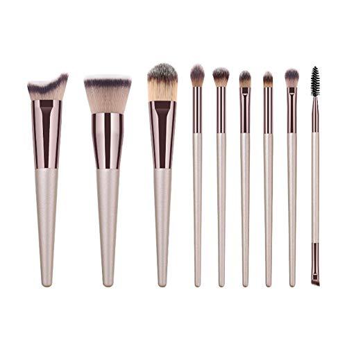 Drawihi Pinceaux Maquillages Premium Coloré Fondation Mélange Blush Yeux Visage Poudre Brosse Cosmétiques 9Pcs (bronzer)