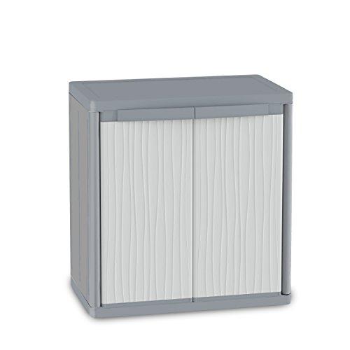 Terry, Jumbo 900 Wave, Schrank mit 2 Türen und 2 verstellbaren Einlegeböden, für innen und außen. Farbe: Grau, Material: Kunststoff, Abmessungen: 89,7x53,7x94,5 cm, Hellgrau/Dunkelgrau