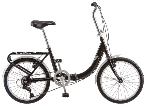 Schwinn Loop Adult Folding Bike, 20-inch Wheels, Rear Carry Rack, Black