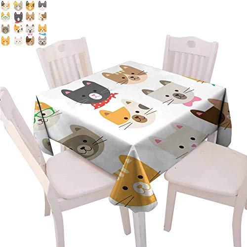 Mantel cuadrado de animales para cocina, disfraz de gatos con gafas y pajarita, diseo de dibujos animados, plegable, 137 x 137 cm, multicolor