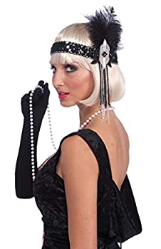Forum Novelties Roaring 20 s Deluxe Black and Silver Flapper Headband Black/Silver One Size