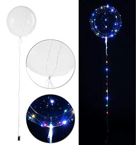 infactory LED Ballons: Luftballon mit Lichterkette, 40 Farb-LEDs, Ø 30 cm, transparent (Ballon mit Lichter)