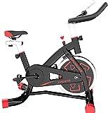 Wghz Bicicleta de Ciclismo de Interior, Bicicleta de Ciclo de transmisión silenciosa con Manillar y Asiento Ajustables, Volante Cromado, Monitor de 5 Funciones, Entrenador de Cardio Ideal