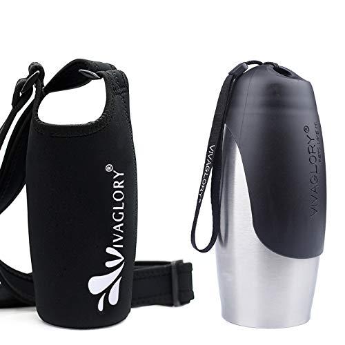 VIVAGLORY 750 ml Auslaufsichere Trinkflasche für Hunde aus Edelstahl mit Schwarzem Neopren-Flaschenhalter mit Verstellbarem Breitem Schultergurt