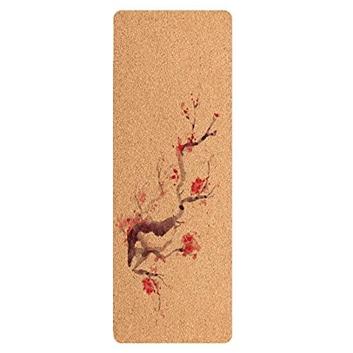 N\C Espesado 7 mm Antideslizante Ensanchado 183x65 cm Corcho Ecológico Tapete de Yoga de Caucho Natural Tapete de Ejercicio Tapete de Fitness Tapete de Reparación Posparto Resistente Al Desgarro