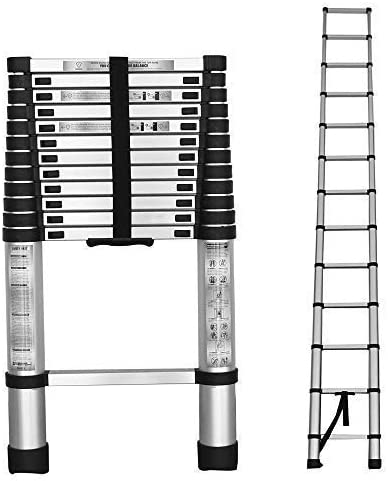 2021 findmall Aluminum Telescopic Extension Ladder Folding Step One-Button Inward Sliding Retraction 10.5FT online sale / 3.2M 12.5FT discount / 3.8M 14.5FT / 4.4M Multi-Use Non-Slip (12.5FT / 3.8M) outlet sale