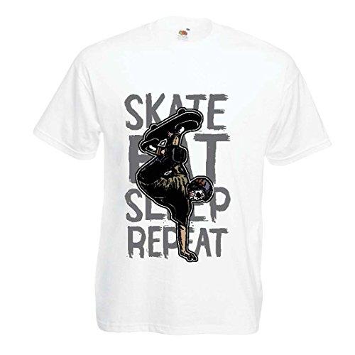 Männer T-Shirt Eat-Sleep-Skate-Repeat Fro Skateboard Liebhaber, Skateboarder Geschenke, Skateboarden Kleidung (Small Weiß Mehrfarben)