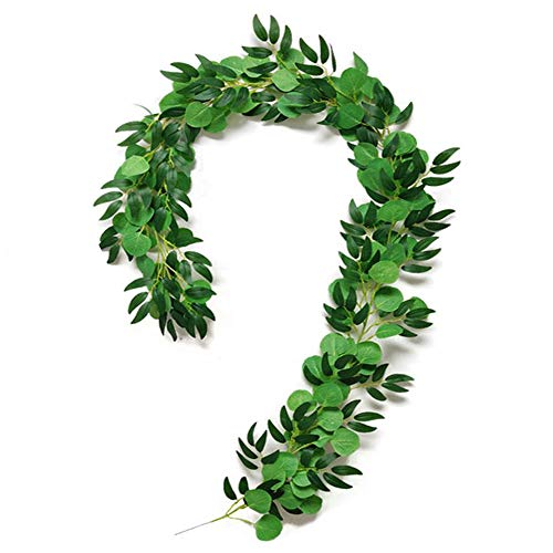 Artificial Eucalyptus Garland Artificial Plants Handmade Hanging Fake Leaves Vines 2 Pcs Greenery Foilage Garland Cottagecore Decor for Wedding Arch Home Office Wall Garden Fence Green-D-2m(2pcs)