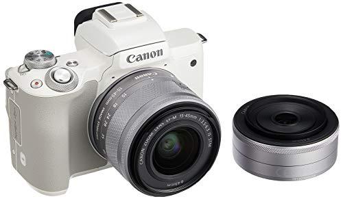 Canon ミラーレス一眼カメラ EOS Kiss M ダブルレンズキット ホワイト EOSKISSMWH-WLK-A