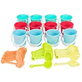 JOYIN 12 Sets Beach Pails Sand Buckets and Sand Shovels Set for Kids |3' Mini Beach and Sand Toys at The Beach | Use for Sand Molds at The Sandbox