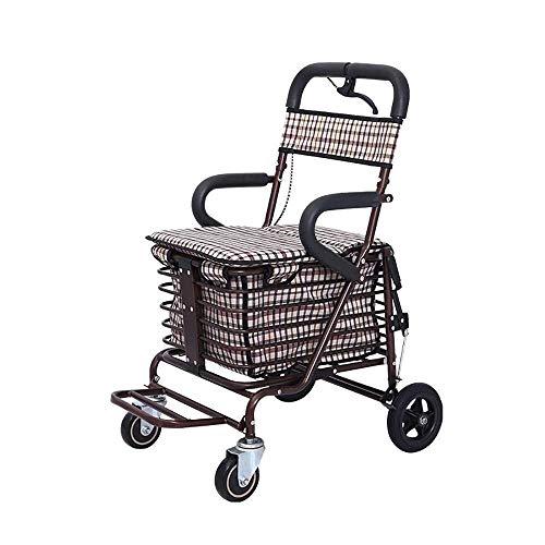 Einkaufskörbe, Trolley Leichte Aluminiumlegierung Faltbare Tragbare Rollator The Elderly Warenkorb Mit Einkaufskorb (Farbe: B)