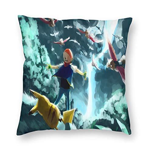 N/A Pokémon Funda de cojín para sofá, funda de asiento de peluche, producto principal cómodo y suave para salón 20 X20