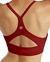 RUNNING GIRL Strappy Sports Bra for Women Sexy Open Back Medium Support Yoga Bra with Removable Cups (WX2311.WineRed, XL)