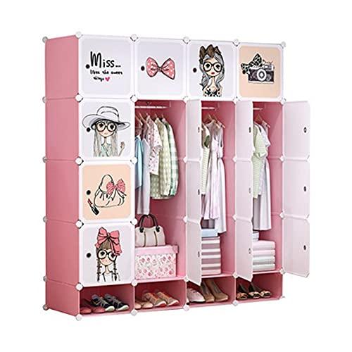 zlw-shop Armario Portátil Armario para niños Armario portátil Armario Armario Armario Organizador de Almacenamiento para Ahorro de Espacio,Rosa y Blanco,L57.9×D18.5×H 65 Pulgada Ropero