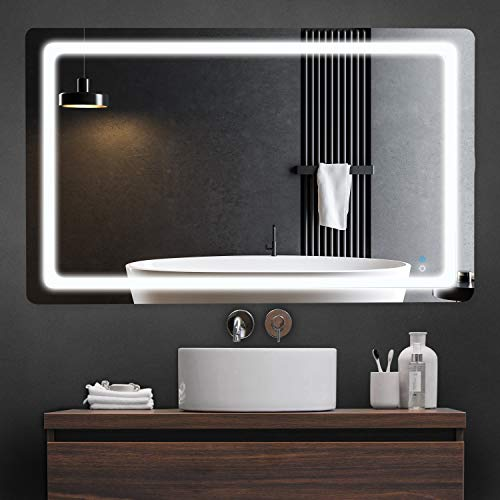 LyteSho LED Bathroom Mirror for Wall - 40x24 inch Anti Fog Bathroom Mirror for Vanity - Lighted Bathroom Vanity Mirror with 3 Light Settings - Makeup Mirror with Lights Fog Free Frameless Smart Mirror