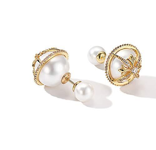 Haespsd Pearl dubbelzijdige oorbellen 925 zilver oorbellen in oorbellen retro elegante jurk met