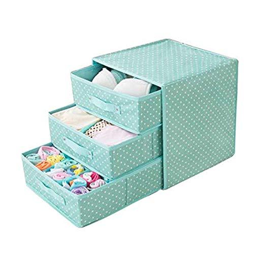 YuuHeeER Caja de almacenamiento de ropa interior Oxford de tela para escritorio, sujetador, calcetines, tipo cajón de espesor, color rojo