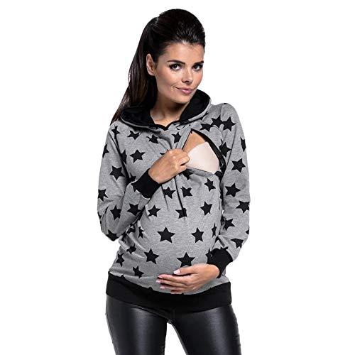SANFAHSION Sweat de Maternité,Hoodie Imprime Étoile Grossesse Blouse d'allaitement Brassière Top Col Haut Mode Sweat Shirt Chapeau Chaud Confortable(Gris,M)