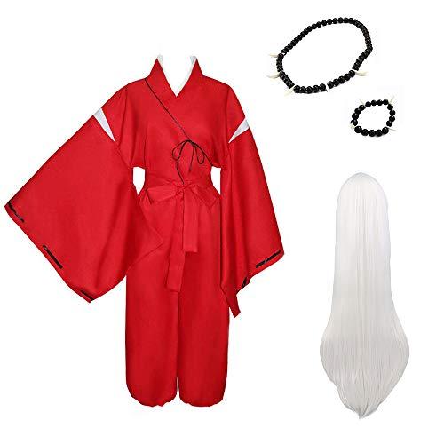 Amatop Disfraz de Cosplay de Inuyasha, Kimono de Anime Inuyasha, Traje de Kimono Rojo, Conjunto Completo, Trajes de Uniforme de Kimono japonés, Disfraz de Cosplay de Carnaval de Halloween