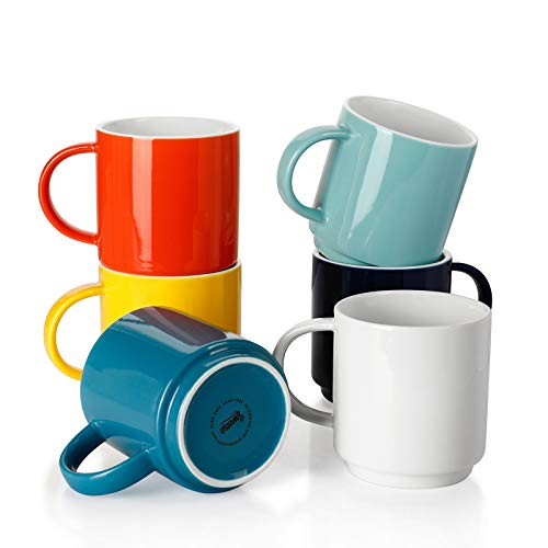 Sweese 616002 Stackable Coffee Cups - 10 Ounce for Specialty Coffee Drinks Cappuccino Cafe Mocha Latte and tea Set of 6 Hot Assorted Colors