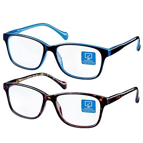 K KENZHOU Blue Light Blocking Glasses/Computer Glasses 2 Pack Blue light glasses(Women/Men) with Spring Hinges Nerd Reading Gaming Glasses