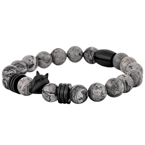 Akitsune Obsidian Perla Pulsera   Mujer Hombreas Hombre Onyx Piedra de Lava - Negro Mate Gris Oscuro - 20cm