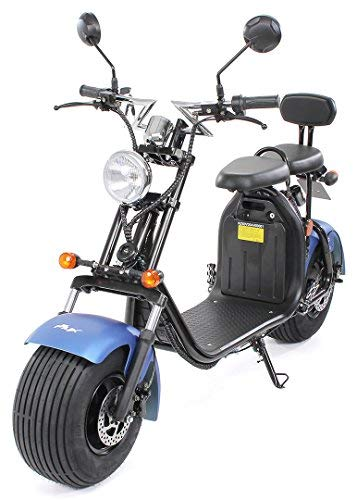 eFlux Harley Two Elektro Scooter 1500 Watt 60 Volt 20AH mit Straßenzulassung 35 Kilometer Reichweite viele Farben (Blau Matt)