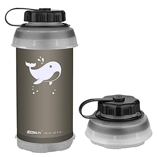 Botella de agua plegable de 750 ml plegable plegable ligera compacta para...